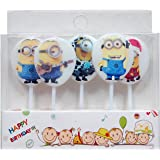 Partysanthe Happy Birthday Candle/ Minions Scented Theme Candle/ Minions Party Supplies/ Minions Decoration/Minions/Happy Birthday Theme/Minions Theme(5 Pcs)