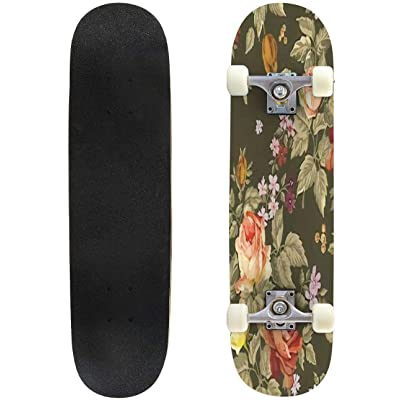 "Pink Vintage Rose Pattern Seamless Outdoor Skateboard 31""x8"" Pro Complete Skate Board Cruiser 8 Layers Double Kick Concave Deck Maple Longboards for Youths Sports : Sports & Outdoors"