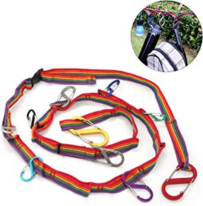 Pasking Outdoor Camping Lanyard Rope with 10 Hooks, Camp Hanging Rope Tent Accessories Campsite Clothesline with 3 Sizes of Carabiners for Travel,Hiking,Picnic or Home Use