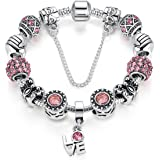Presentski DIY Silvering Charm Bracelet with Cute Bowknots Christmas Gifts for Girls