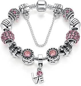 Fashion Love Theme Love Pendant Bracelet Silver Plated Material Red Glass Bead Snake Bone Chain 18cm
