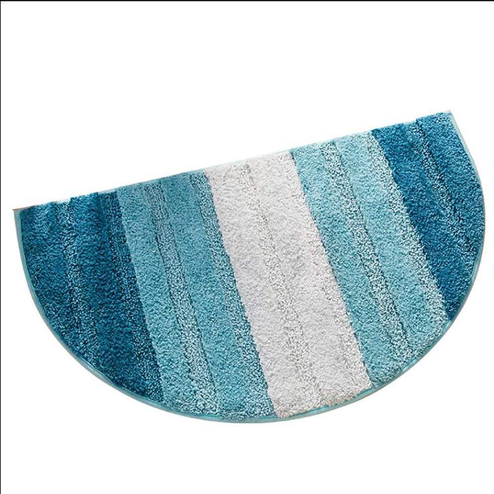 Non-slip pad ZMIN Bathroom Mat Semicircular Floor Mat Fiber Material Not Easily Deformed Bedroom Door Mat Absorbent Foot Pad Bottom Slip Machine Washable
