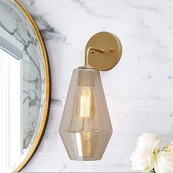 Ksana Gold Wall Sconce Bathroom Vanity Light Fixtures With Smoked Glass 1 Light Sconces Wall Lighting For Bathroom Bedroom Amazon Com