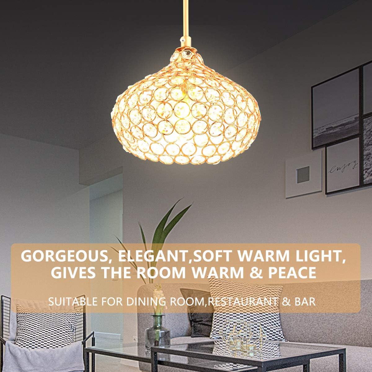 restaurant salon chambre /à coucher bar Cristal plafonnier,Fy-Light Lustre en cristal de style moderne K9 affleurant 1 tasse de lumi/ère abat-jour lustres de plafond pour la salle /à manger