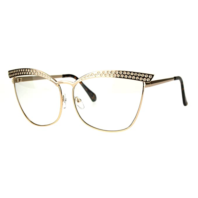 aaf92e7a1f14 Large Embedded Brow line Clear Lens CAT EYE Silhouette Eye Glasses (Gold,  Clear)