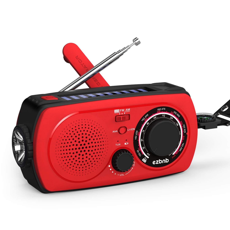 Solar Emergency NOAA Weather Radio – Portable Hand Crank Shortwave Radio Am Fm Flashlight SOS Alert Cell Phone Charger 2300mAh Power Bank for iPhone/Smart Phone by ezbnb