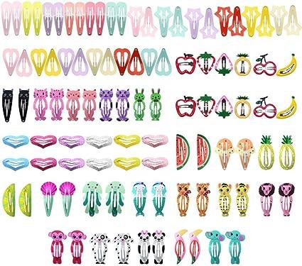 Oferta amazon: falllea 100 Piezas de Pinza de Pelo Metal Multicolor Pelo Horquillas Pinzas para el Cabello a Presión de Diseño de Dibujos Animados Accesorios Cabello para Niñas Infantiles