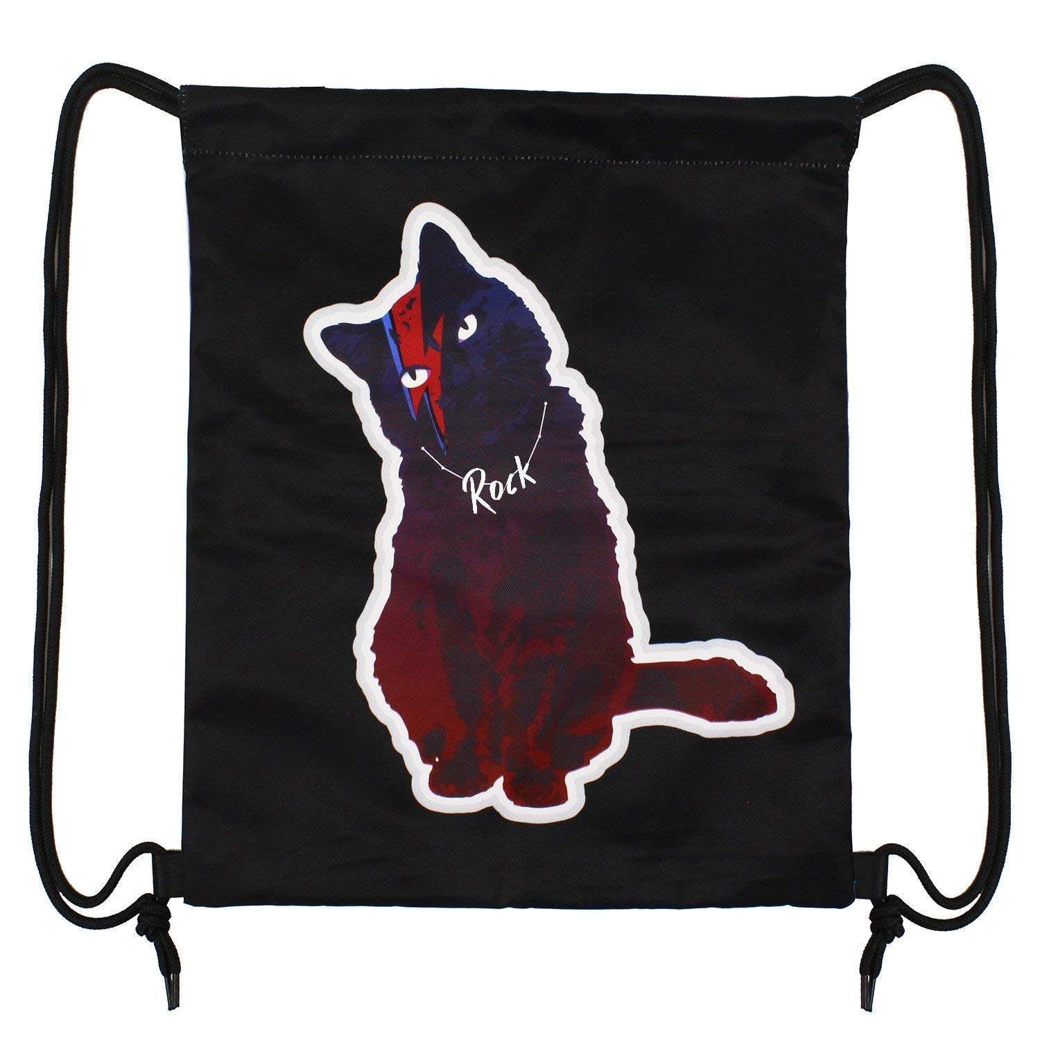 True Holiday Waterproof Fabric Drawstring Bag Backpack Double-sided for Girls and Boys to Gym Sports Trip Swimming School (cat)