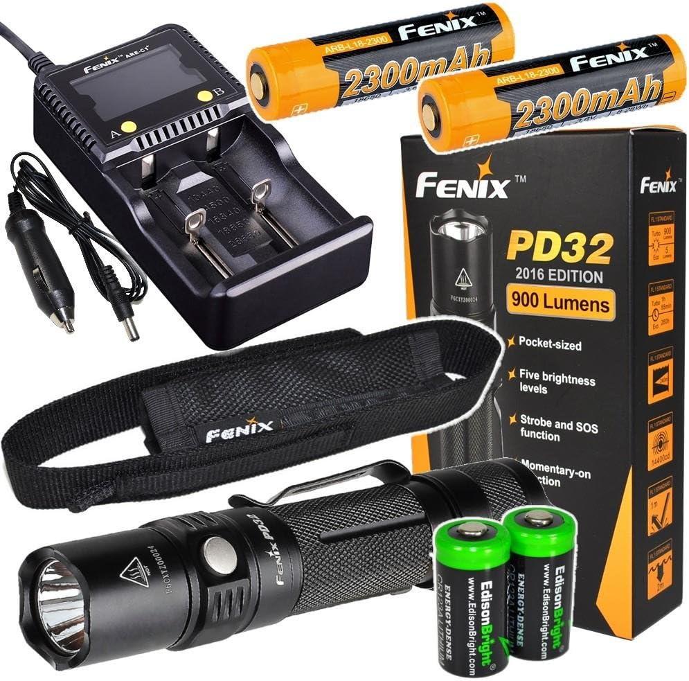 Fenix smart Charger and 2 X EdisonBright CR123A Lithium batteries bundle 2 X Fenix ARB-L2M 18650 Li-ion rechargeable batteries Fenix PD32 2016 Edition 900 Lumen CREE XP-L HI LED Tactical Flashlight