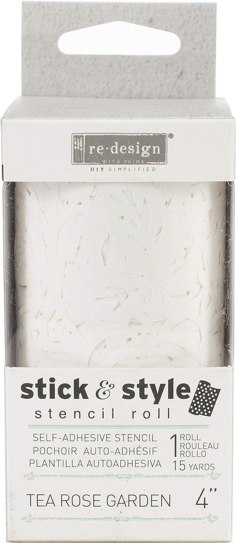 Tea Rose Garden Prima Marketing PRIMA638-320 Redesign Stick /& Style Stencil Roll 4 X15yd-Tea