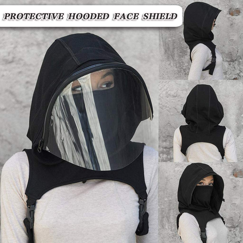 Washable Scarf Cycling Clothing Windproof Dustproof Anti-Fog Facial Cover Clear Window Hooded Face Bandanas Reusable Removable Hat Adults-Black Full Protective Face Wear Balaclava Face Shield