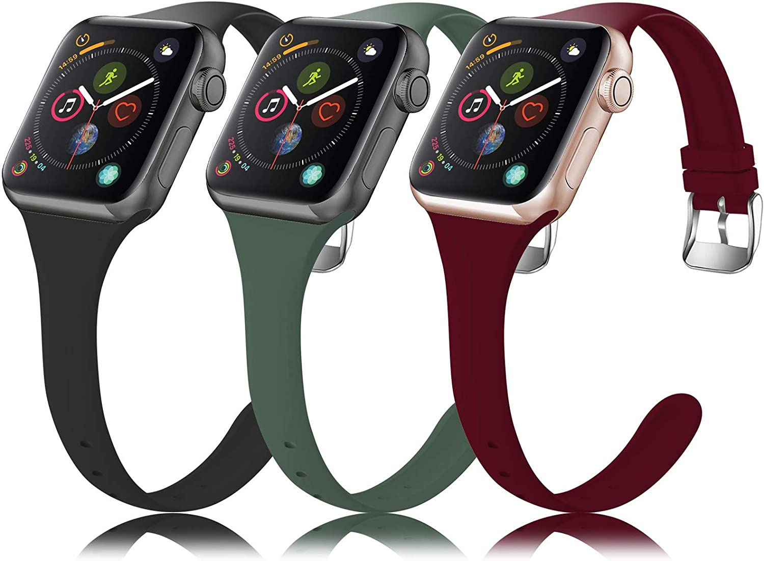 QRose Bands Compatible with Apple Watch 38mm 40mm 42mm 44mm, 3 Pack Thin Slim Narrow Replacement Soft Silicone Sport Accessory Strap Wristband for iWatch Series 5/4/3/2/1 Women Men