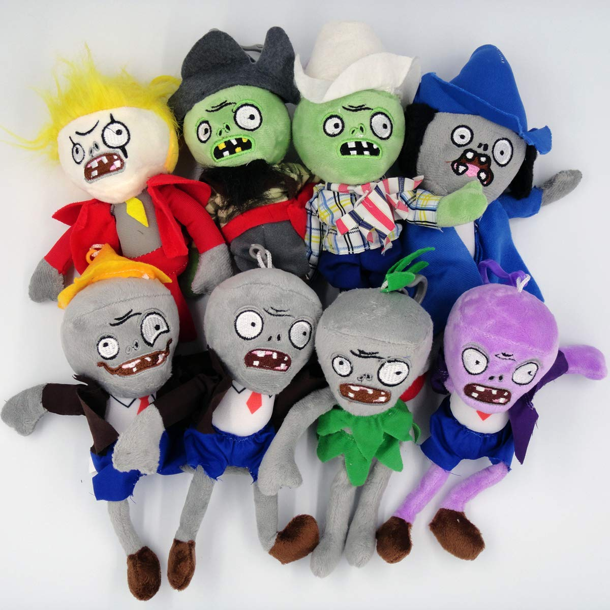 Plants vs Zombies Figure PVZ Plush Toys (Set of 8),Mini Size 20cm with Keychain by sagusi