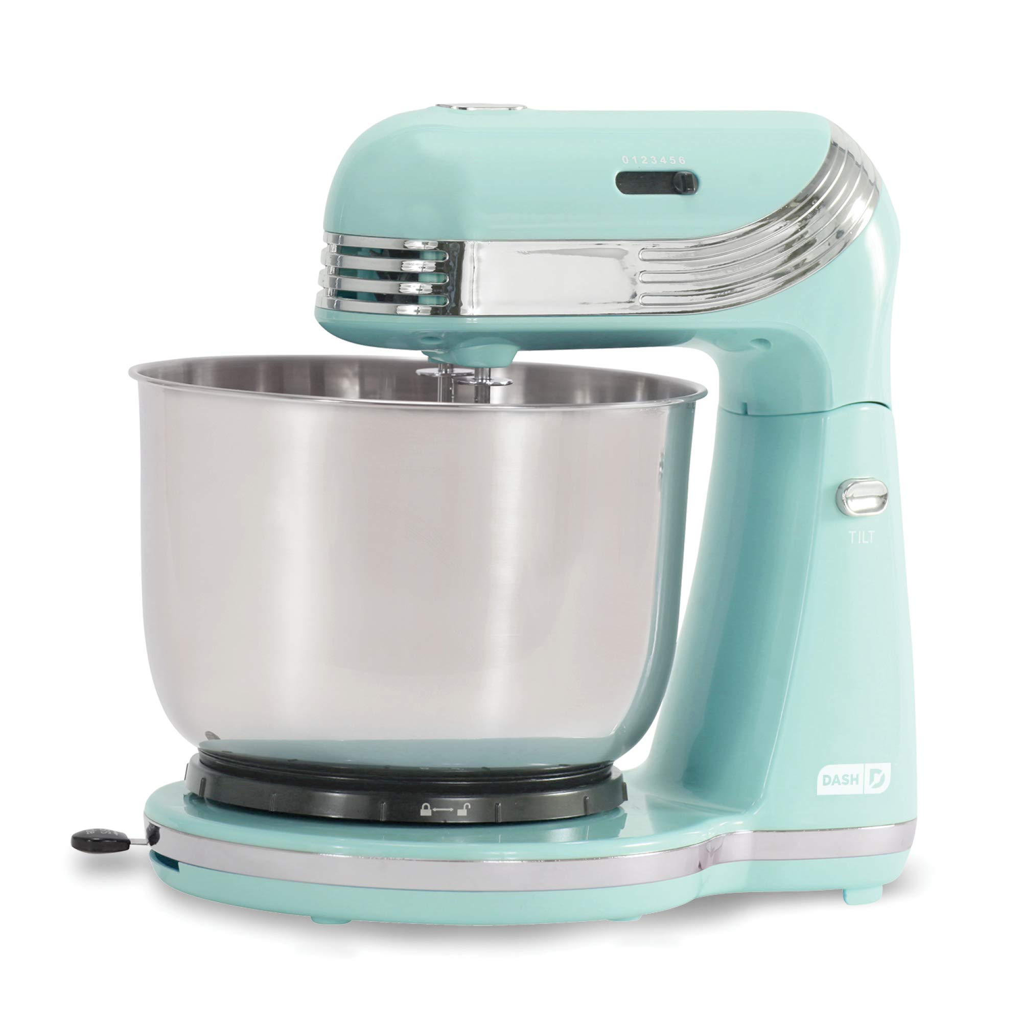 Dash Stand Mixer (Electric Mixer for Everyday Use): 6 Speed Stand Mixer with 3 qt Stainless Steel Mixing Bowl, Dough Hooks & Mixer Beaters for Dressings, Frosting, Meringues & More - Aqua by DASH