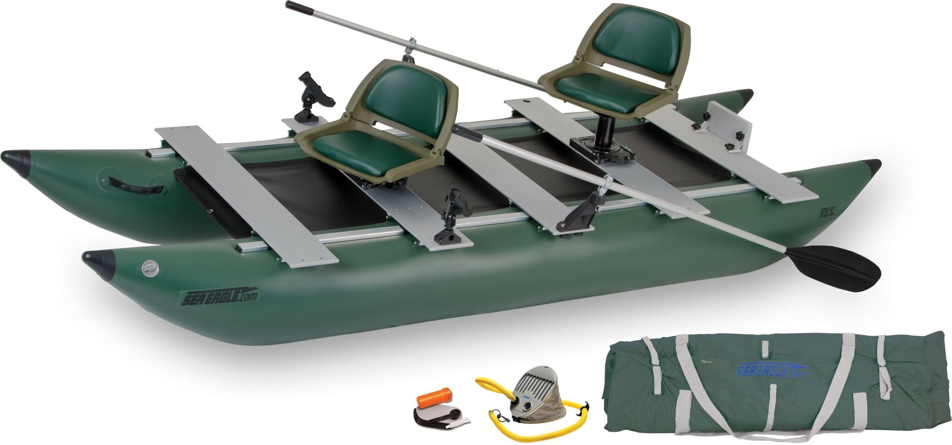 Sea Eagle Green 375FC Inflatable FoldCat Fishing Boat - Deluxe Guide Package
