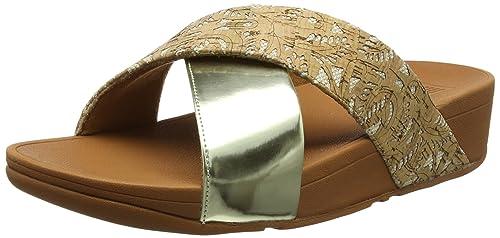 298ab30b18fc Fitflop Women Lulu Cross Slide Mirror Cork Open Toe Sandals  Amazon ...