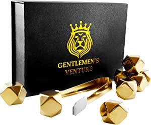 Gentlemen's Venture Whiskey Stones Gold Luxe Gift Set Edition 8 Reusable Diamond Shaped Stainless Steel Chill Cubes including Matching Silicone Tip Tongs and Storage Tray