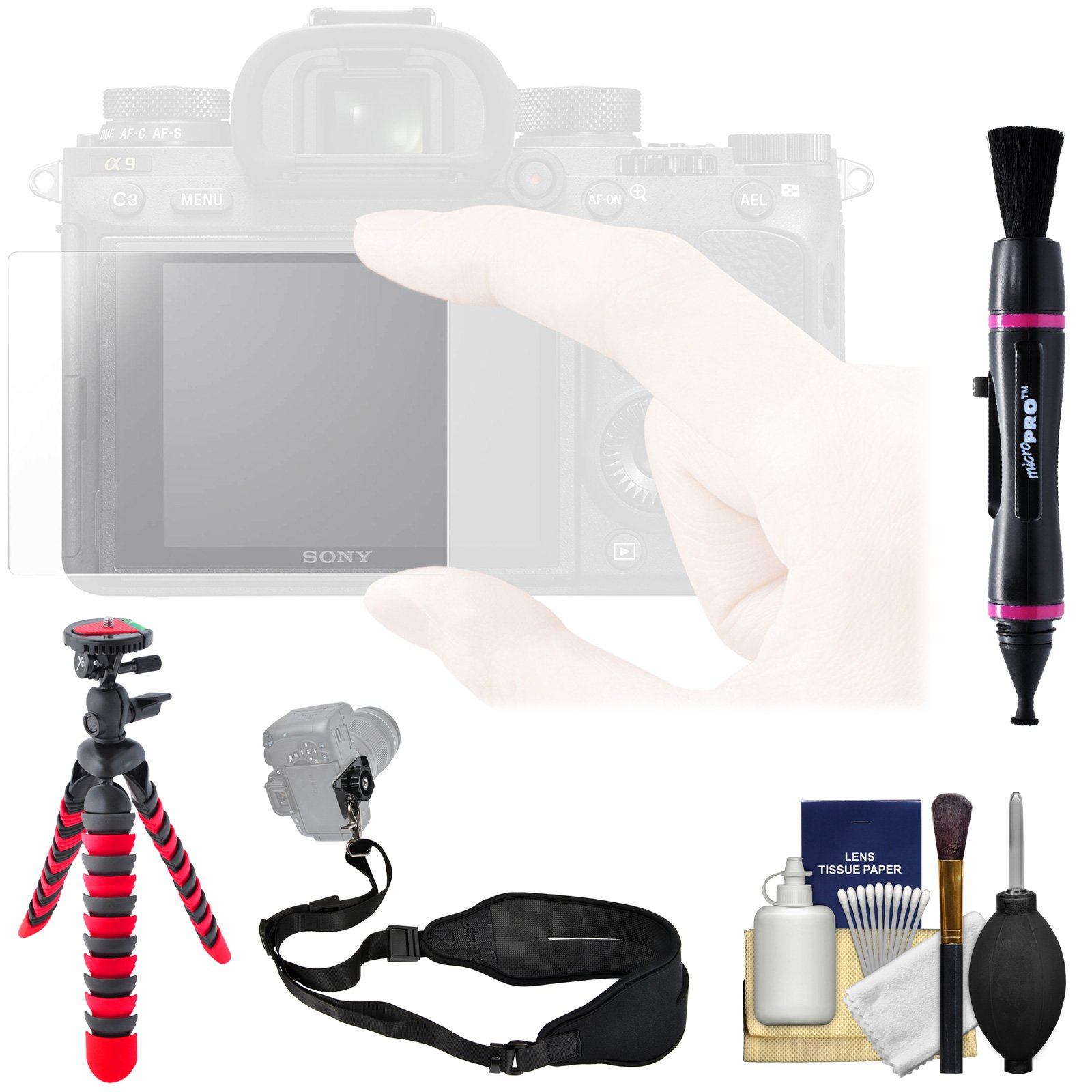 Sony PCK-LG1 Screen Protector Glass Sheet with Strap + Tripod + Kit for RX10 Series, RX100 Series, Alpha A7, A7R, A7S Series & A9