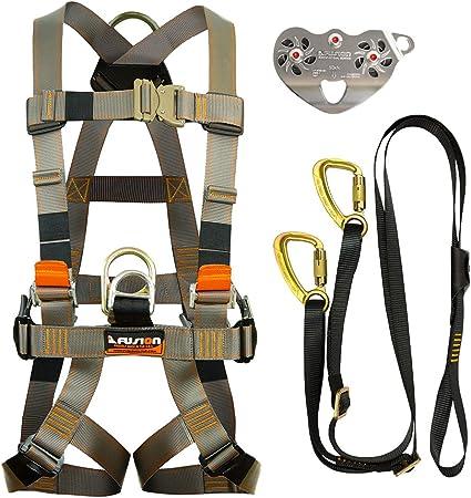 Fusion Climb Pro Backyard Zip Line Kit Harness Lanyard Trolley Bundle FK-A-HLT-18