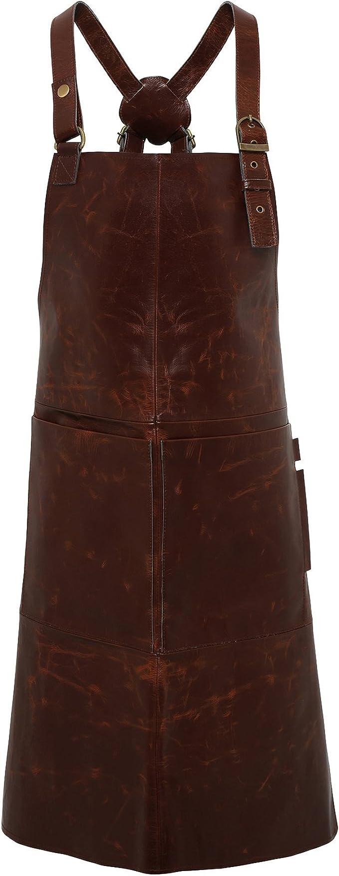 PREMIER LEATHER PR140 Artisan real leather cross back bib apron
