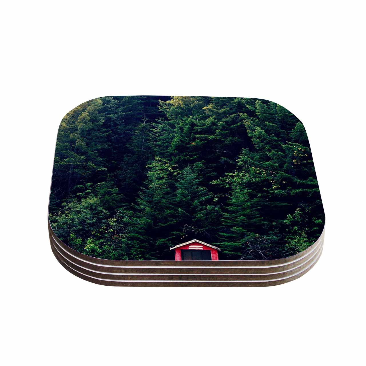 KESS InHouse Robin Dickinson'Red In Woods Forest' Coasters (Set of 4), 4 x 4', Multicolor