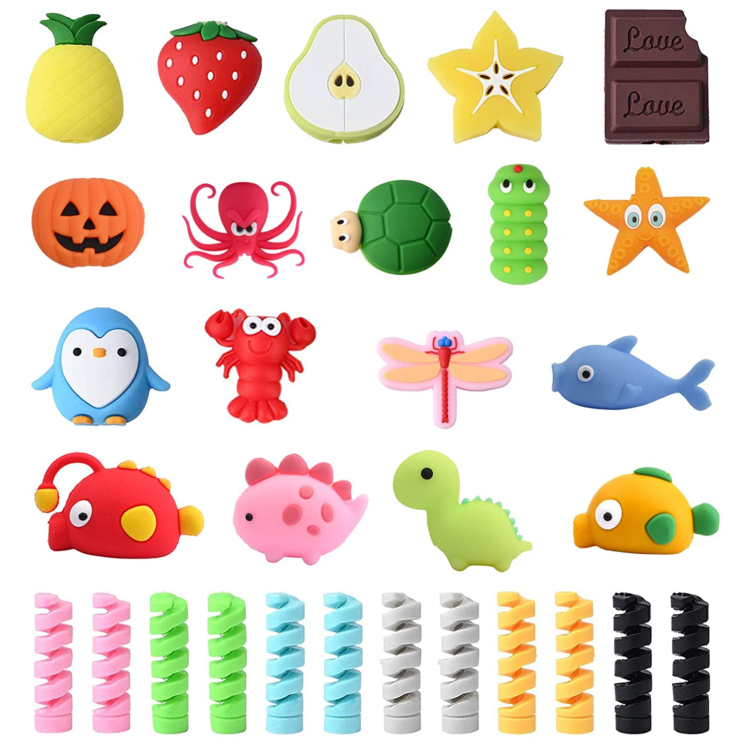 30 Pieces Cable Protector for iPhone/ipad USB Lightning Cable,Cute Unicorn Fish Dinosaur Animal Fruit USB Charger Cable Saver Cable and Spiral Tube Spring-Shaped Flexible Wire Protector