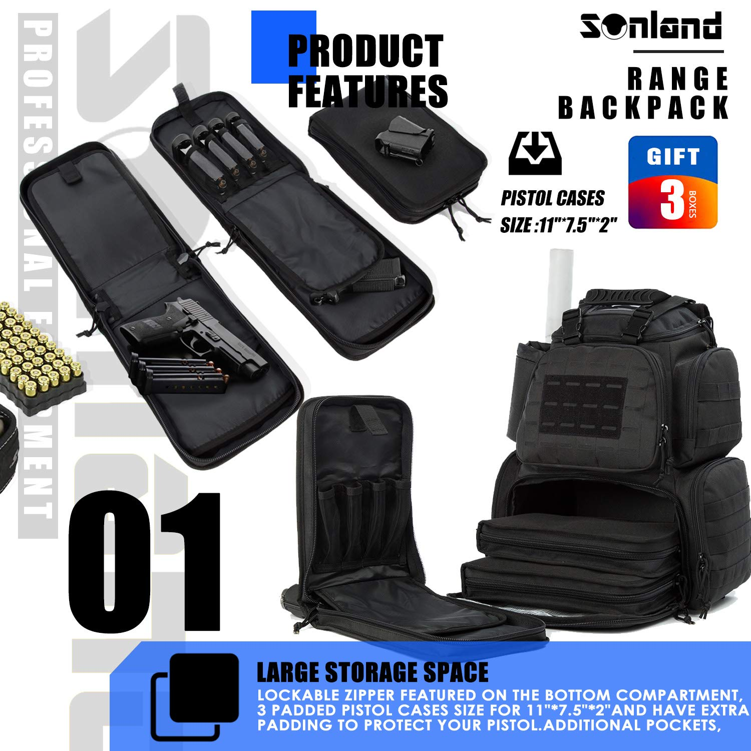 SUNLAND Range Bag Backpack,Gun Backpack with 3-Pistol Case and Protective Rain Cover,Tactical molle System & Lockable zippers-18'' x 14'' x 8'' (Blk) by SUNLAND (Image #2)