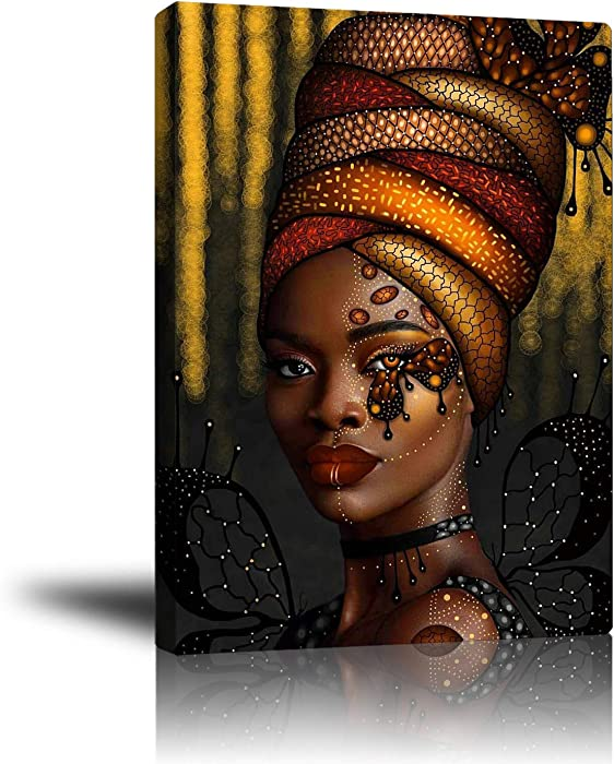 """Premium Canvas Wall Art, Prints Sexy African Woman and Beautiful Headdress Decor Photo Paintings, Decorative Artwork for Bedroom Home Office Framed Ready to Hang 16""""x 20"""""""