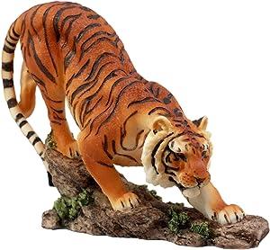 "Ebros Gift Prowling Orange Bengal Tiger Figurine 7.25"" L Indian Sumatran Stealth Hunter Giant Cat Sculpture"