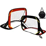 Soccer Goals, Training Soccer Goal Nets Set of 2 Soccer Goals for Backyard and Team Games Compact Carry Bag w/Mesh Bag…