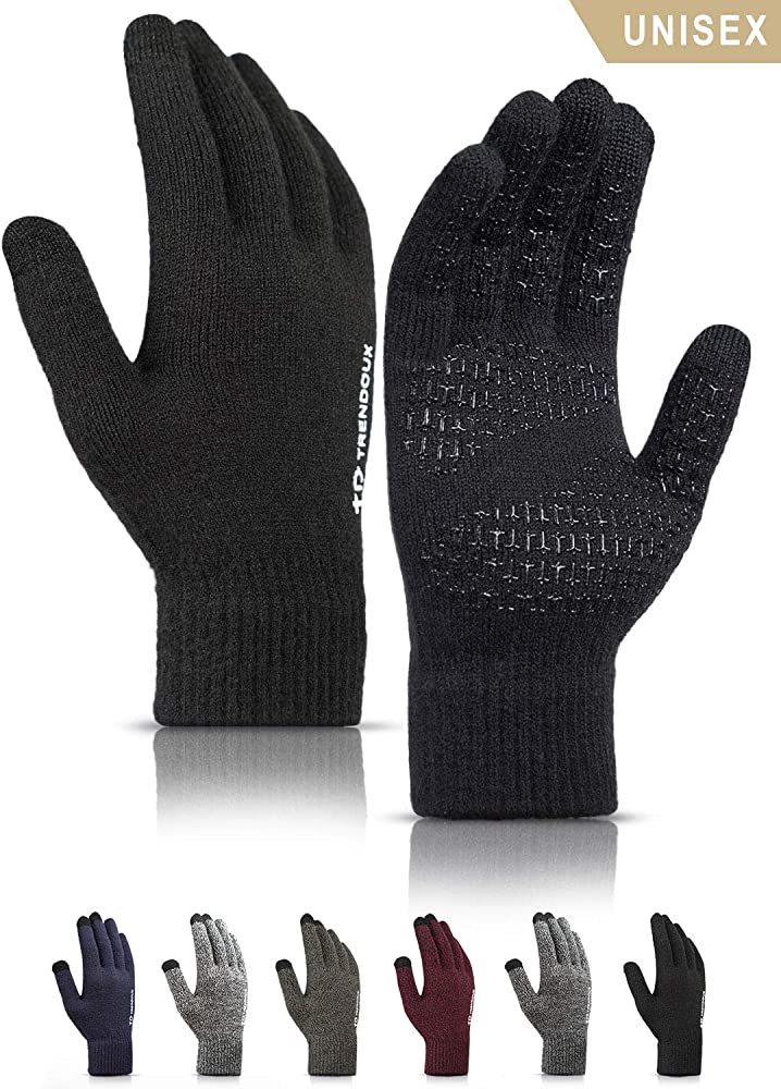 Knit Windproof Anti-Slip Thermal Work Gloves Soft Lining Elastic Cuff Texting Gloves for Running Driving in Cold Weather Cycling Touchscreen Sports Gloves Winter Warm Gloves for Women Men