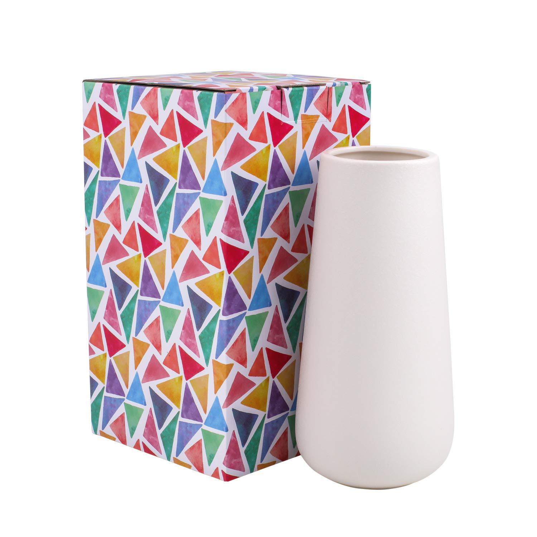 D'vine Dev Gift Box Packaged 8'' Tall Snow White Ceramic Flower Vases - Home Decor Vase and Table Centerpieces Vase