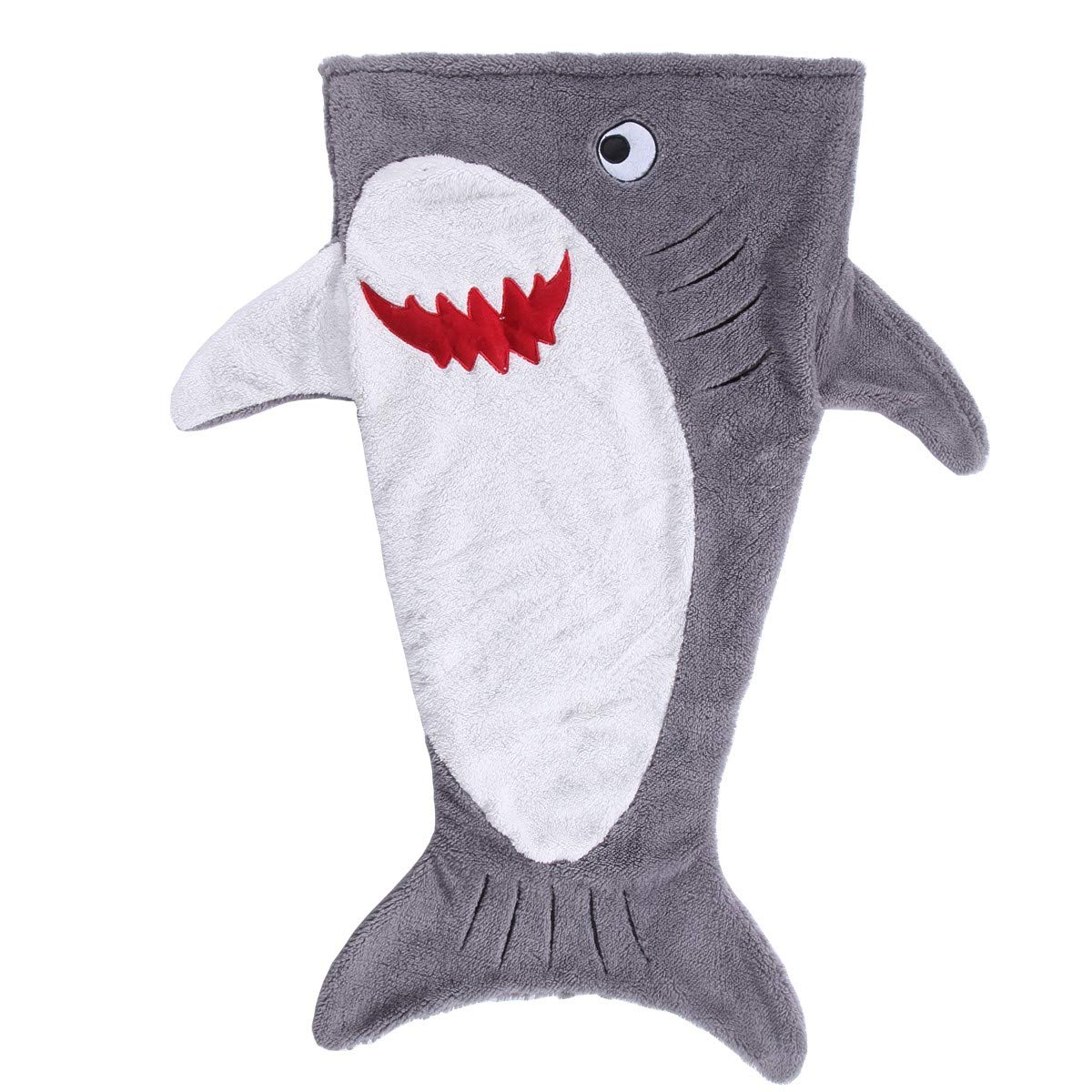 SINOGEM Shark Blanket Toys for Children, Pocket Style Kids Tail Blanket Shark Toy, Plush Animal Sleeping Bag Blanket for Kids (Grey)