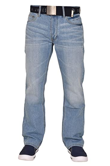 a2cf27f449a Smith and Jones Mens Enrico with Belt Boot Cut Regular Jeans  Amazon.co.uk   Clothing