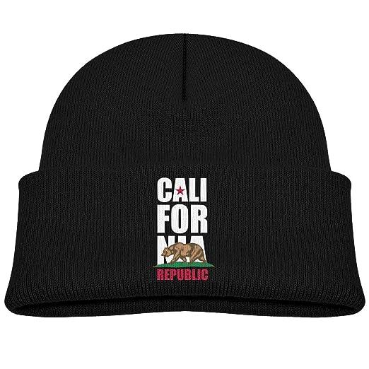 5f85149c88b EASON-G Toddler s Beanie Flag of California Cuffed Knit Hat Skull Cap Black