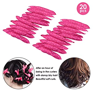 Locisne 20pcs Flexible Foam Sponge Hair Curlers, No Heat Hair Curlers Magic Pillow Soft Rollers Spiral Curls Set Hair Care DIY Styling Tools Comfy to Sleep on (Pillow Rollers)