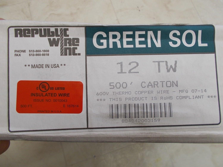 Republic Wire Inc. Wire GREEN SOL Thermo Copper Wire 12 TW (500ft ...