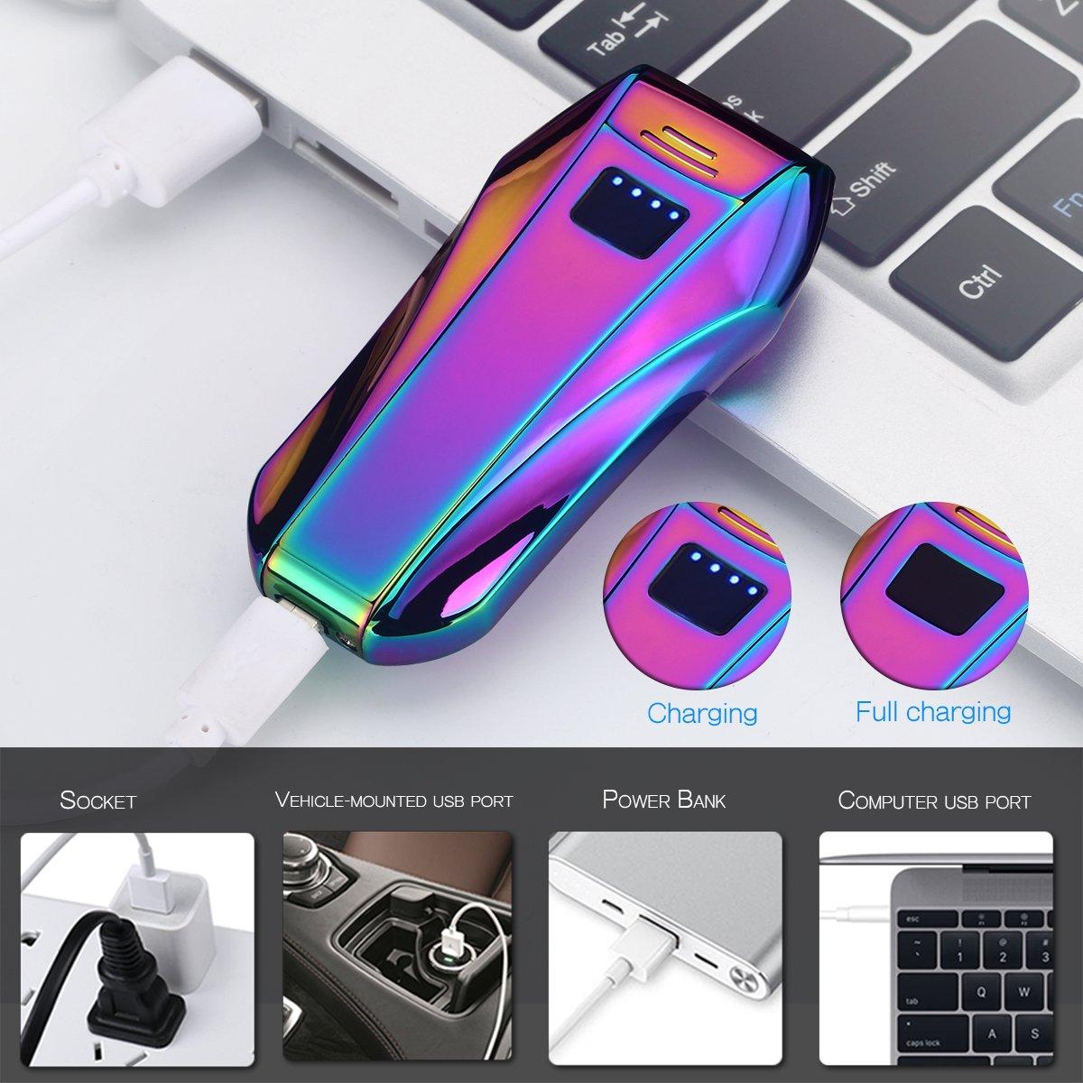 Accendino Lighter,Accendino Antivento Ricaricabile No fiamman No gas o liquidi USB carica Interruttore ad induzione ad Alta Tecnologia (Purple)