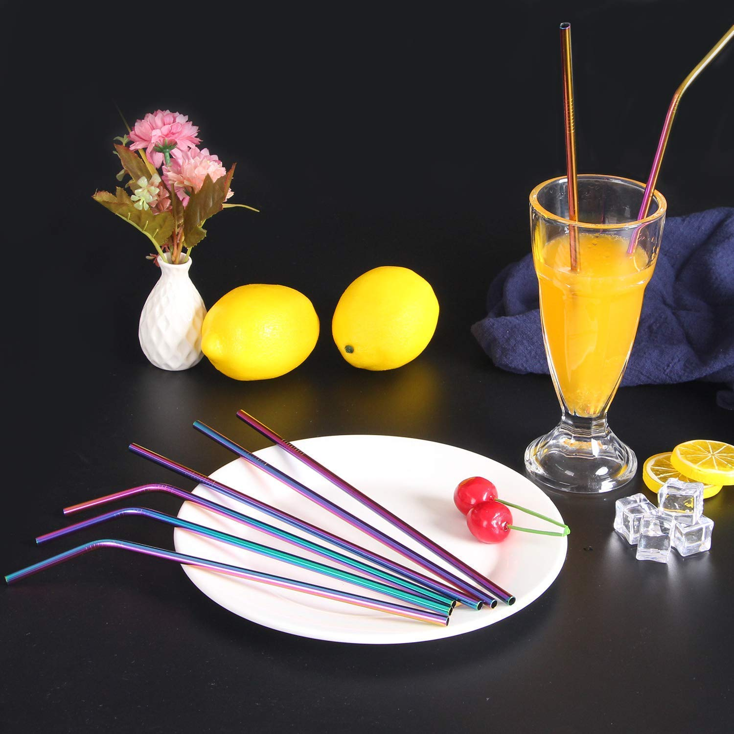 VEHHE Metal Straws Stainless Steel Straws 8 Set Reusable Drinking Rainbow Straws with Cleaning Brush for 20 OZ Tumblers(4 Straight + 4 Bent + 2 Brush) by VEHHE (Image #6)