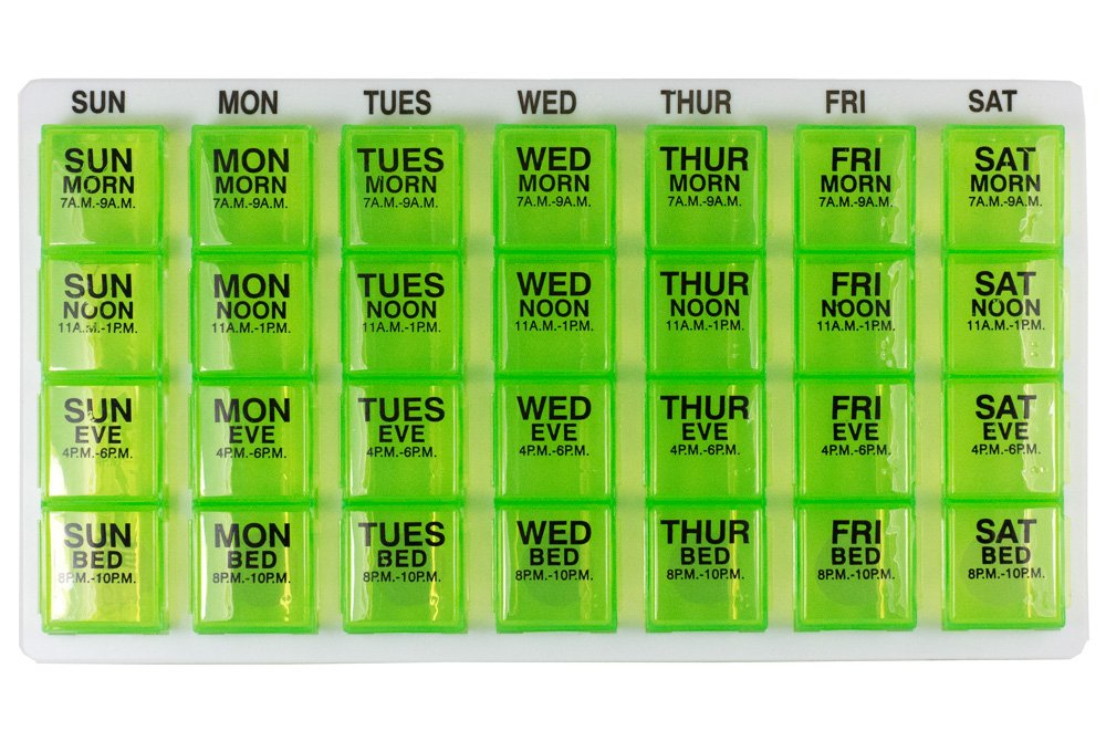 Gms 7 Day Pill Organizer Tray - Large with Removable Daily Pill Boxes with 4 Compartments Each (Green)