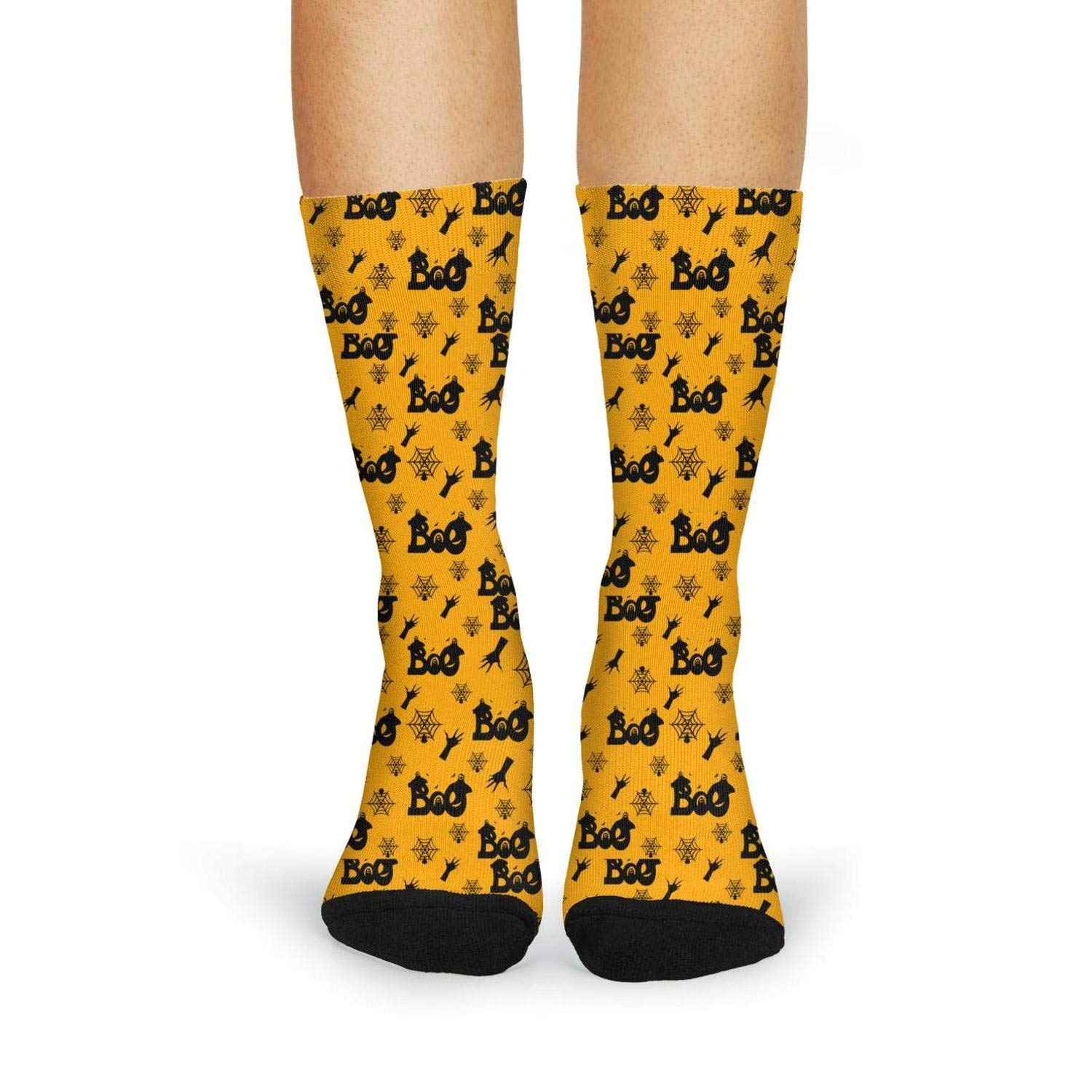Womens Winter Socks Halloween with Boo Ghost Yellow Background Cool Graphic Thick Crew Socks for Sports