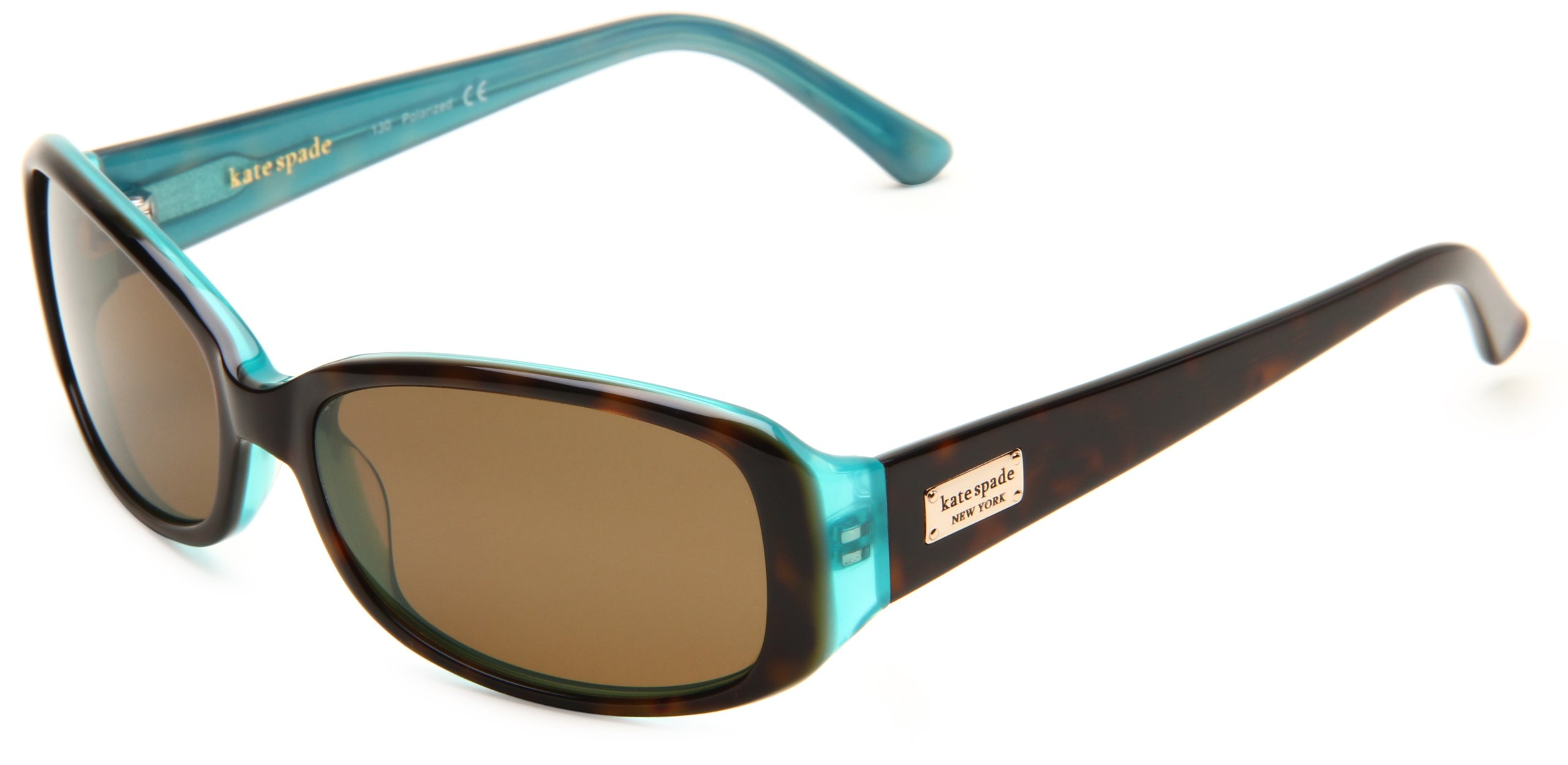 Kate Spade Women's Paxton/S Rectangular Sunglasses,Aqua Tortoise Frame/Brown Polarized Lens,one size by Kate Spade New York (Image #1)