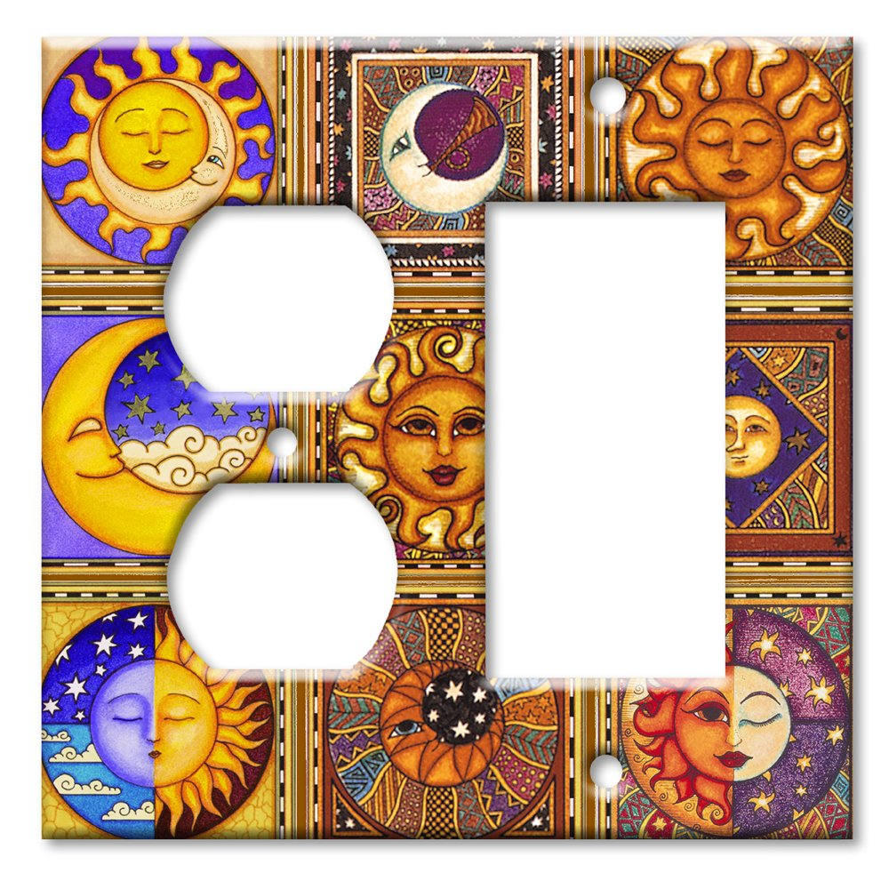 Celestials Theme Metal Wall Plate - Double Gang Combo - Outlet / Decora