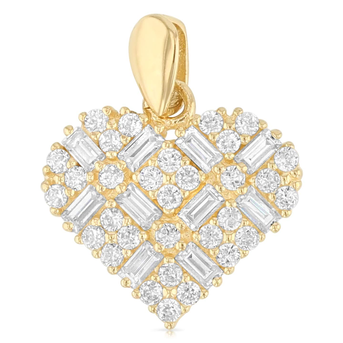 14K Yellow Gold Heart Cross Hatch Cubic Zirconia CZ Charm Pendant with 1.6mm Figaro 3+1 Chain Necklace