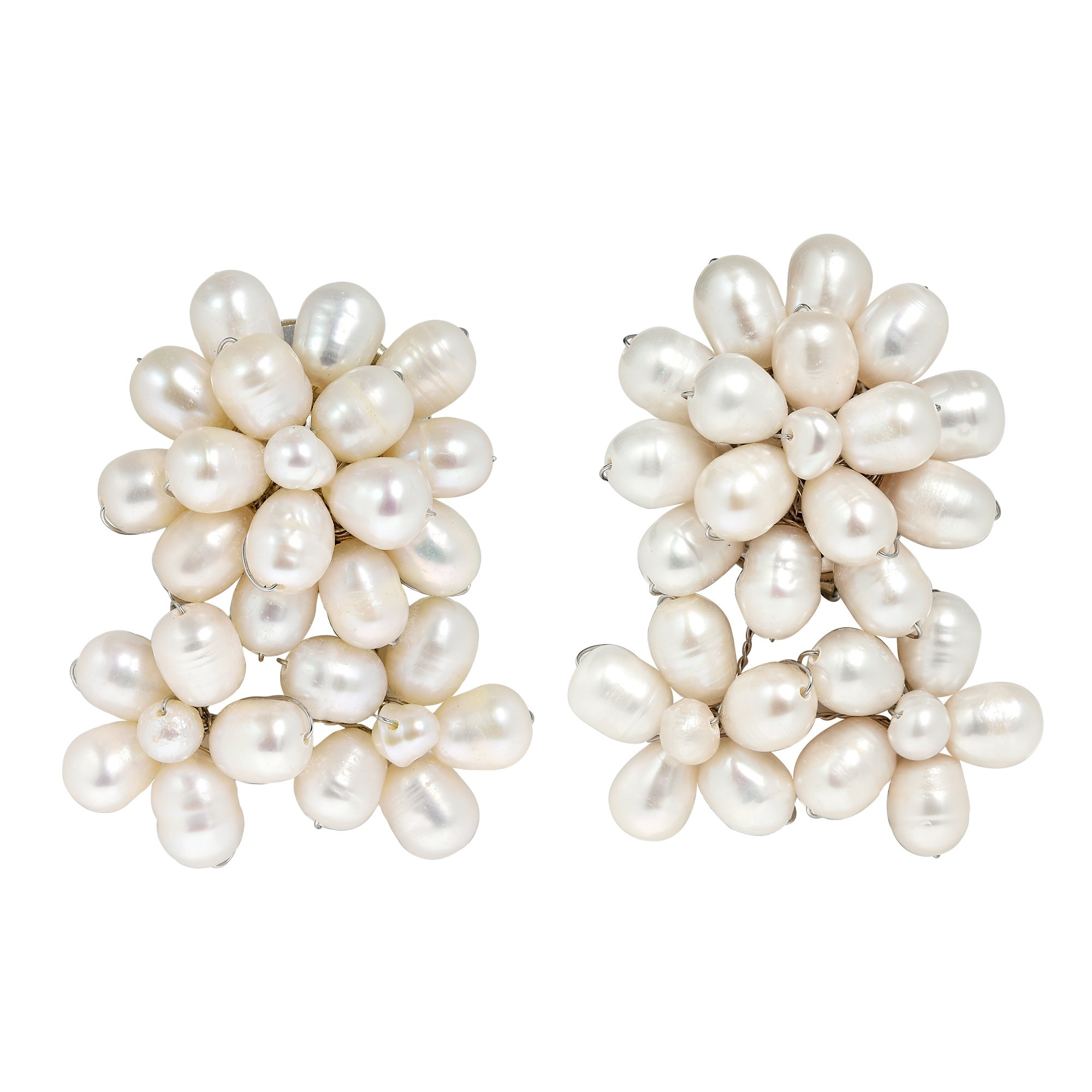 Blooming Floral Romance Cultured Freshwater White Pearl Clip On Earrings