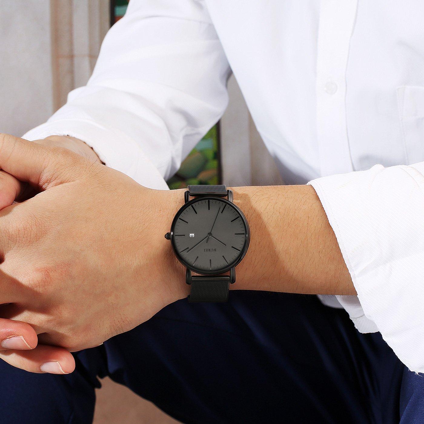 BUREI Men's Fashion Minimalist Wrist Watch Analog Deep Gray Date with Black Mesh Band by BUREI (Image #7)