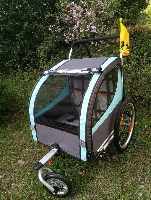 Remolque de bicicleta gemelas 2 en 1, remolque de bicicleta de ...