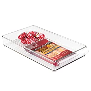 "InterDesign Refrigerator and Freezer Storage Organizer Tray for Kitchen, 8"" x 2"" x 14.5"", Clear"