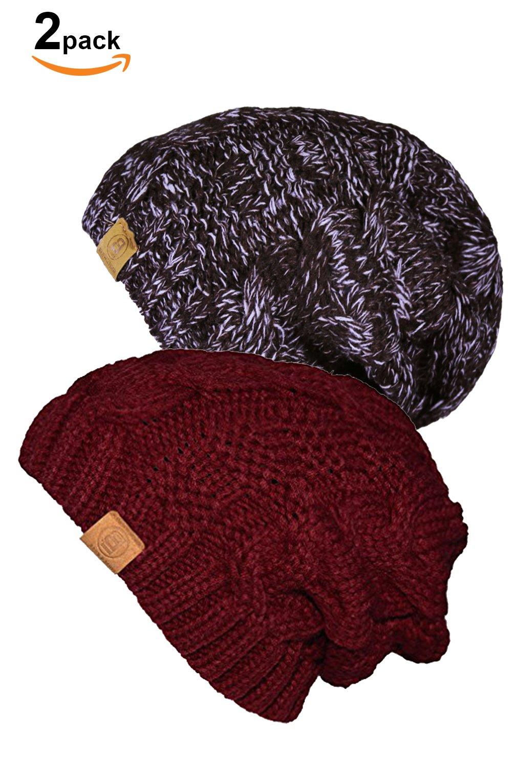 011c8b118cc BASICO Unisex Warm Chunky Soft Stretch Cable Knit Beanie Cap Hat ...