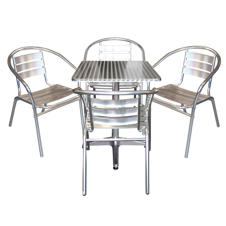Elegantes 5-teiliges Aluminium Bistromöbel Balkonmöbel Set ...
